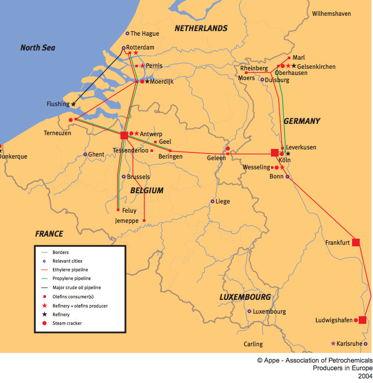 Antwerp Map Europe.Maps Refineries And Crackers Petrochemicals Europe